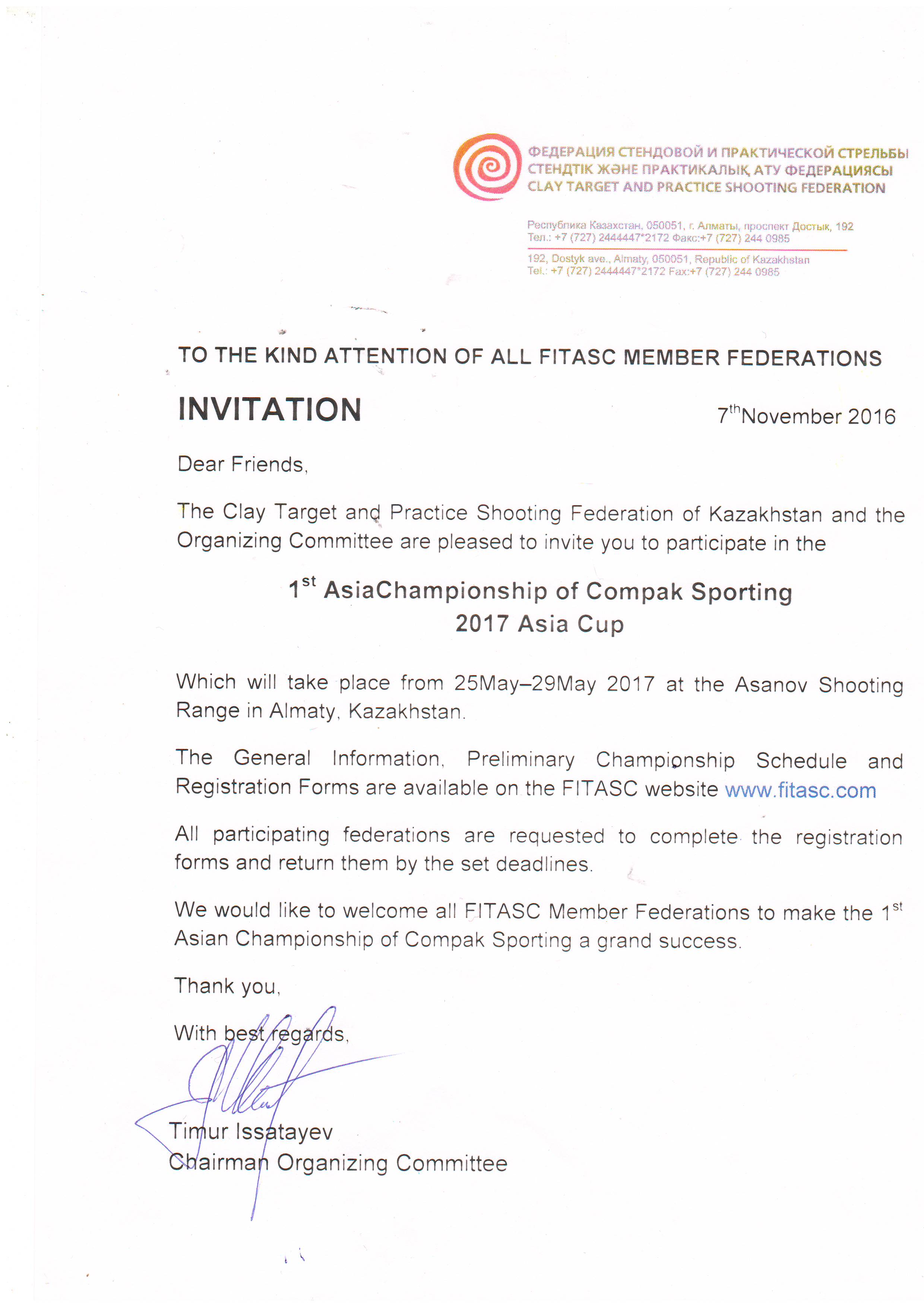 Fitasc download the invitation letter please click here to download the visa support form please click here to download the firearm and ammunition form stopboris Image collections